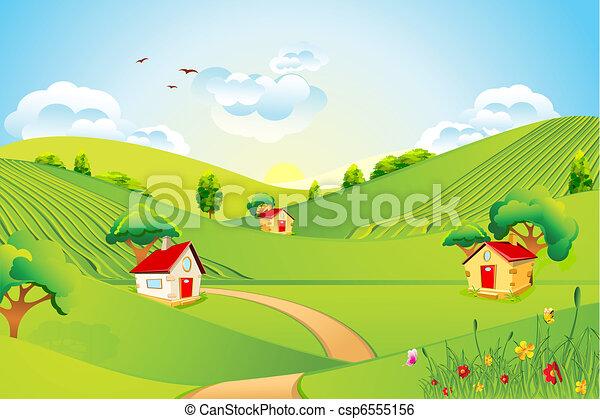 Beau Paysage Beau Maison Paysage Prairie Illustration