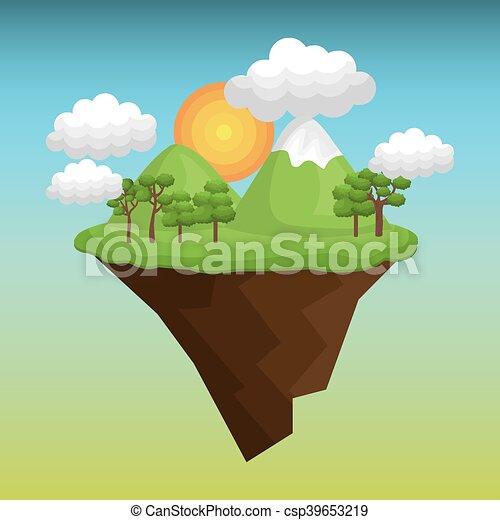 beau, paysage, fond, icône - csp39653219