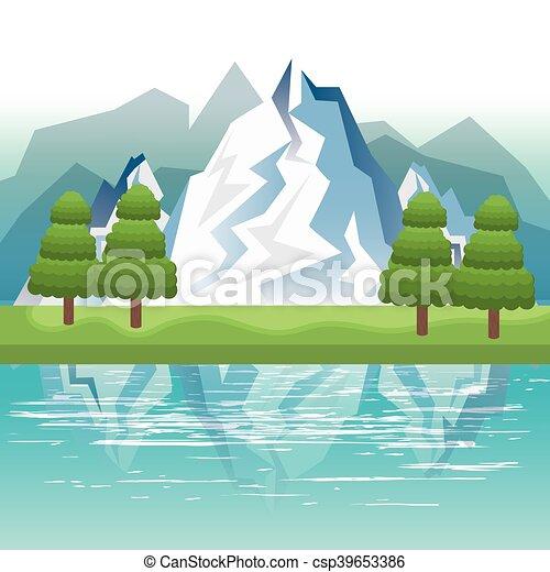 beau, paysage, fond, icône - csp39653386