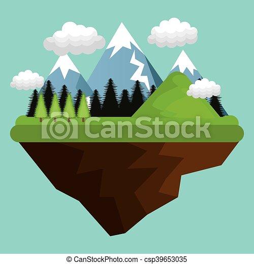 beau, paysage, fond, icône - csp39653035
