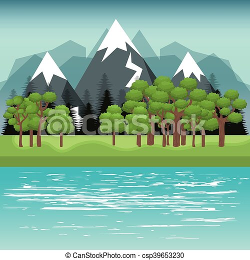 beau, paysage, fond, icône - csp39653230