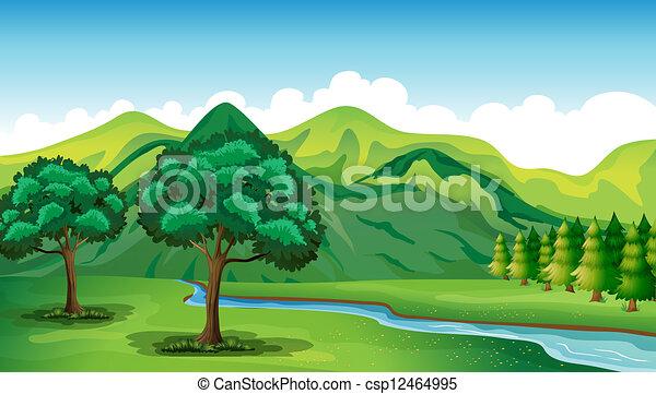 beau, paysage rivière - csp12464995