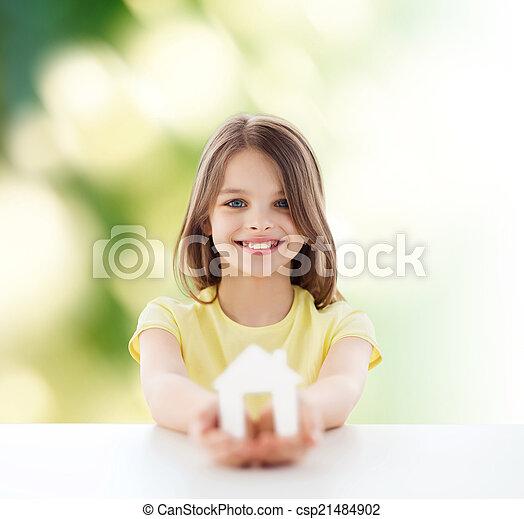 beau, peu, maison, papier, tenue, girl, coupure - csp21484902