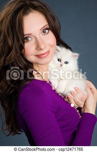 beau, peu, pourpre, tenue, chaton, girl, robe, blanc - csp12471765