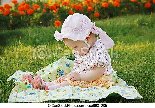 beau, peu, pré, séance, panama, girl, fleurs - csp9931205