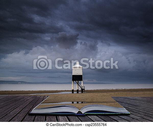beau, phare, échasse, levers de soleil, conceptuel, plage, paysage - csp23555764
