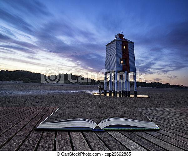 beau, phare, échasse, levers de soleil, conceptuel, plage, paysage - csp23692885