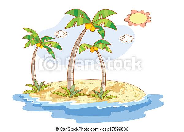 beau, plage, dessin animé, paysage - csp17899806