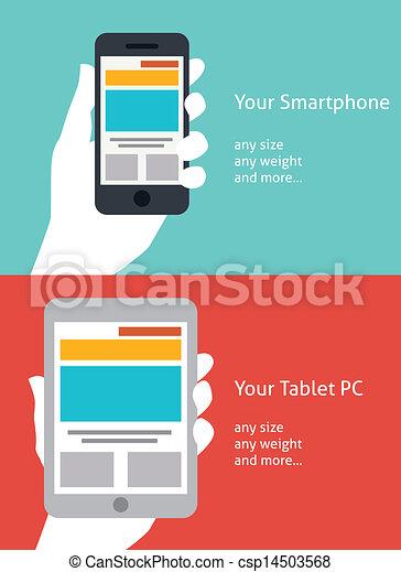 beau, plat, smartphone, tablette, conception, icône - csp14503568