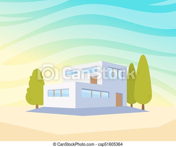 beau, plat, style, moderne, ville, maison, yard., illustration, vecteur,  arbres, dessin, architecture paysage