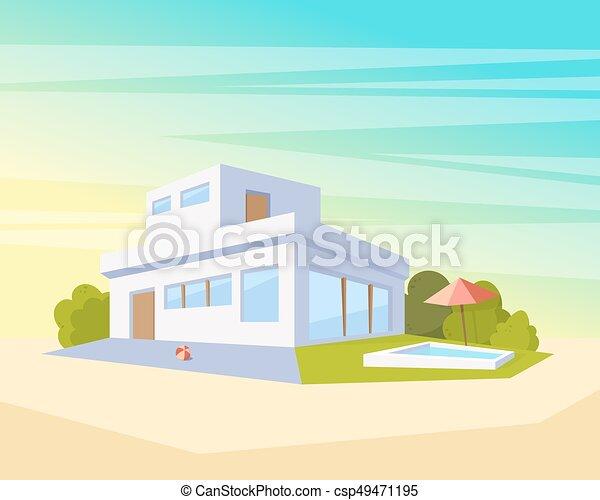 beau, plat, style, piscine, maison, moderne, perspective, vecteur, vert,  architecture, lawn., dessin, paysage, vue