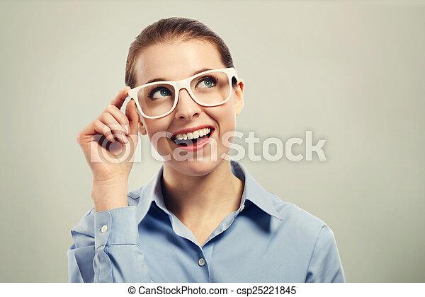 beau, porter, oeil femme, business, blanc, lunettes - csp25221845