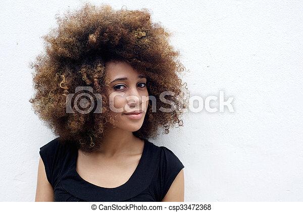 époustouflant Beau, portrait, femme, africaine. Belle femme, bouclé, contre @PR_45