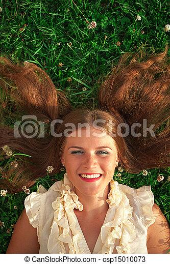 beau, portrait, femme, parc, jeune - csp15010073