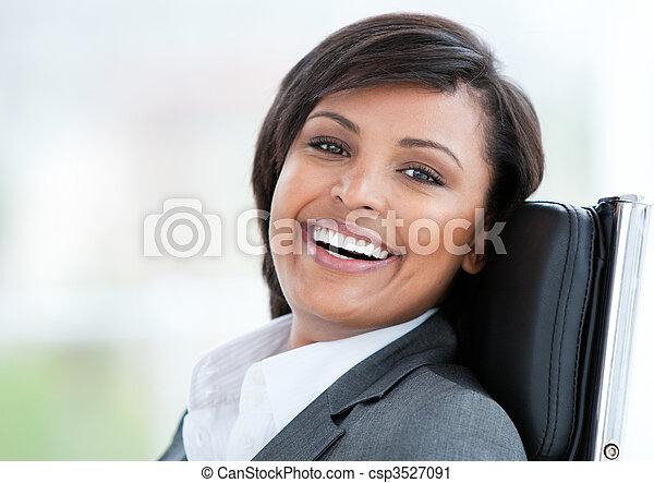beau, portrait, femme, travail, business - csp3527091
