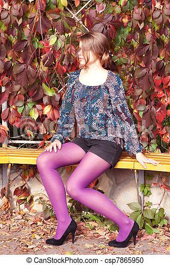 beau, pourpre, automne, girl, collants - csp7865950