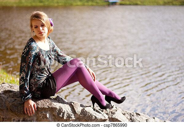 beau, pourpre, automne, girl, collants - csp7865990