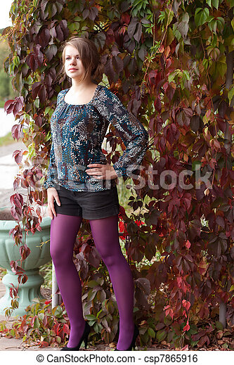 beau, pourpre, automne, girl, collants - csp7865916