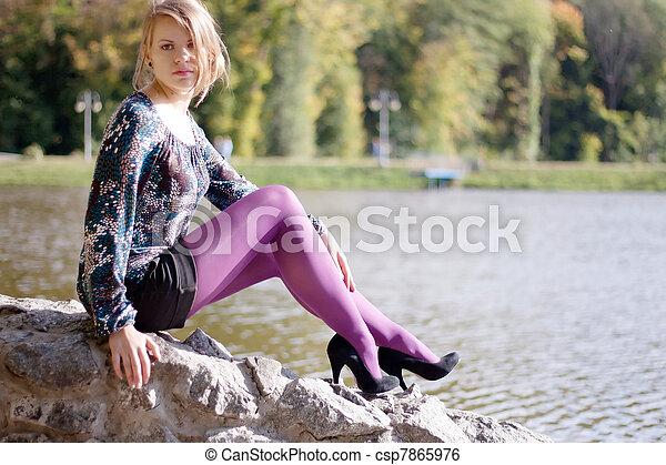 beau, pourpre, automne, girl, collants - csp7865976