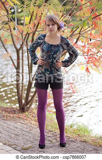 beau, pourpre, automne, girl, collants - csp7866007