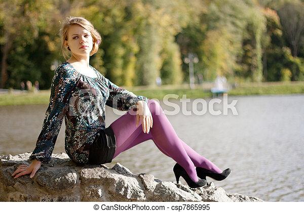 beau, pourpre, automne, girl, collants - csp7865995