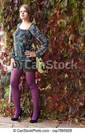 beau, pourpre, automne, girl, collants - csp7865928