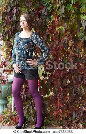 beau, pourpre, automne, girl, collants - csp7865938