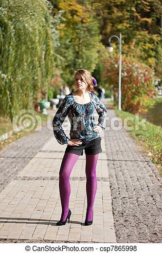 beau, pourpre, automne, girl, collants - csp7865998