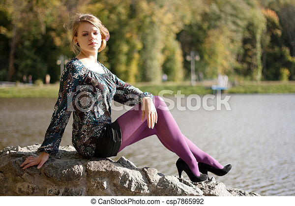 beau, pourpre, automne, girl, collants - csp7865992