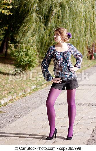 beau, pourpre, automne, girl, collants - csp7865999