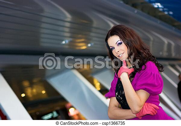 beau, pourpre, girl, gants, robe - csp1366735