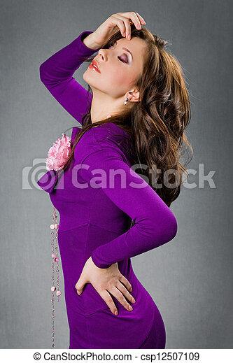 beau, pourpre, girl, robe - csp12507109