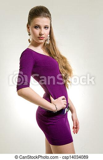 beau, pourpre, girl, robe - csp14034089