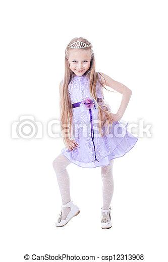 beau, pourpre, peu, robe, girl - csp12313908