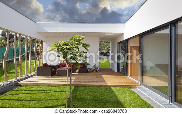 beau privat jardin moderne terrasse nouveau paisible maison. Black Bedroom Furniture Sets. Home Design Ideas