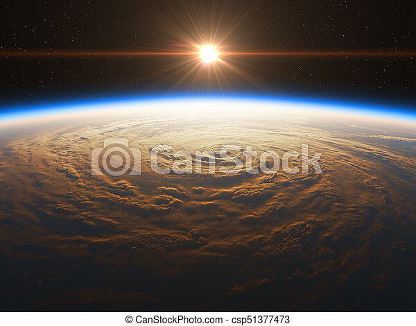 beau, réaliste, sur, levers de soleil, la terre - csp51377473
