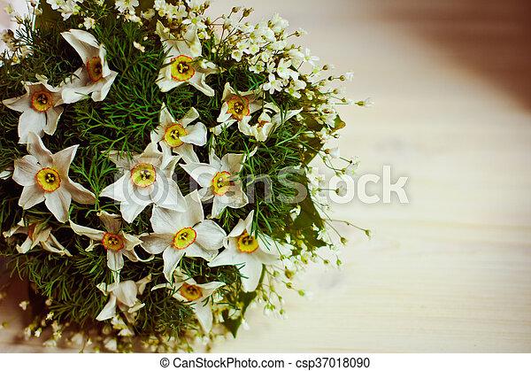 Beau Rebord Fenêtre Bouquet Fleurs Original Mensonge
