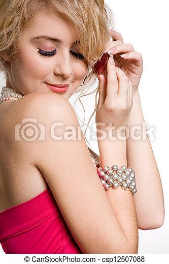 beau, rose, blond, robe, girl - csp12507088