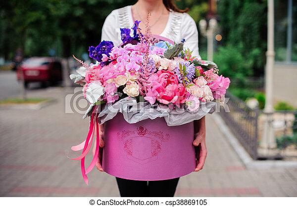 Beau Rose Bouquet Boite Tendre Fleurs Beau Rose Pourpre
