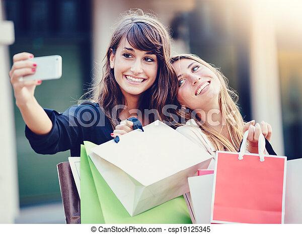 """beau, sacs, achats, prendre, filles, """"selfie"""" - csp19125345"""