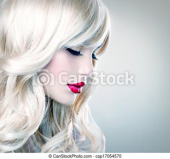 beau, sain, longs cheveux, ondulé, blonds, hair., girl, blanc - csp17054570