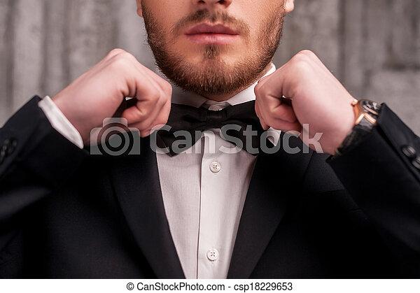 beau, sien, tie., image, jeune, tondu, arc, formalwear, attachement, cravate, barbe, ajustement, homme - csp18229653