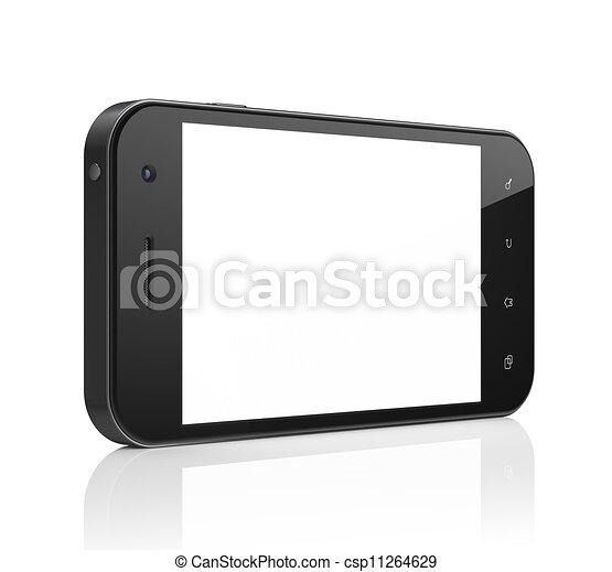 beau, smartphone, générique, render., arrière-plan., téléphone portable, blanc, intelligent, 3d - csp11264629