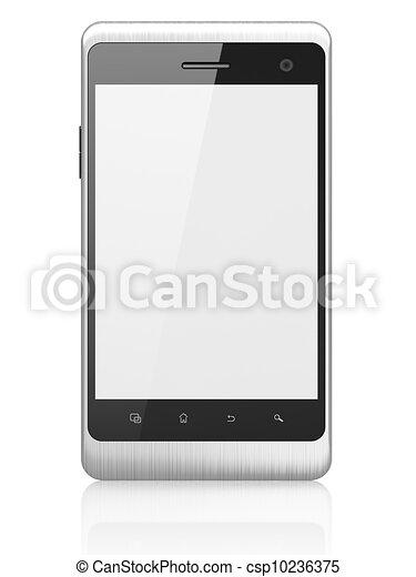 beau, smartphone, render, arrière-plan., générique, téléphone portable, blanc, intelligent, 3d - csp10236375