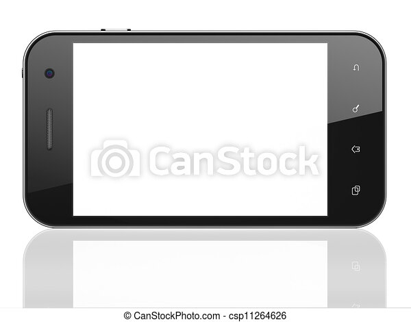 beau, smartphone, render, arrière-plan., générique, téléphone portable, blanc, intelligent, 3d - csp11264626
