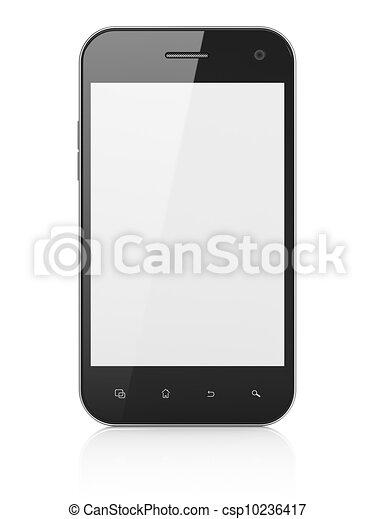 beau, smartphone, render, arrière-plan., générique, téléphone portable, blanc, intelligent, 3d - csp10236417