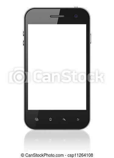beau, smartphone, render, arrière-plan., générique, téléphone portable, blanc, intelligent, 3d - csp11264108