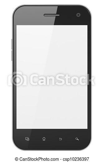 beau, smartphone, render, arrière-plan., générique, téléphone portable, blanc, intelligent, 3d - csp10236397