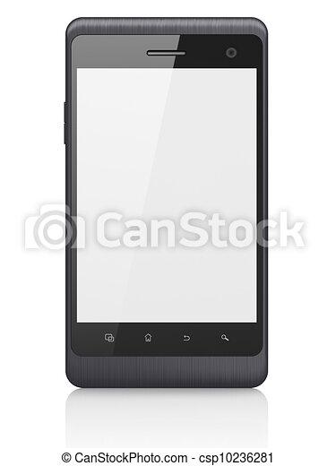 beau, smartphone, render, arrière-plan., générique, téléphone portable, blanc, intelligent, 3d - csp10236281