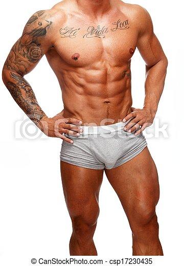 beau sous vêtements torse musculaire tatoué homme